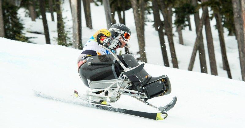 Whistler Adaptive competitive sit-skier races on Blackcomb