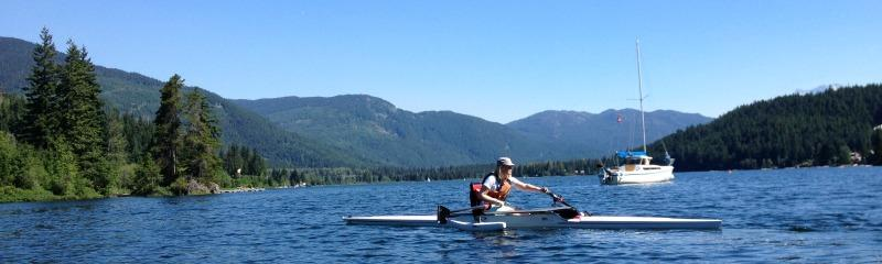 Rowing on Alta Lake on a sunny day in Whistler