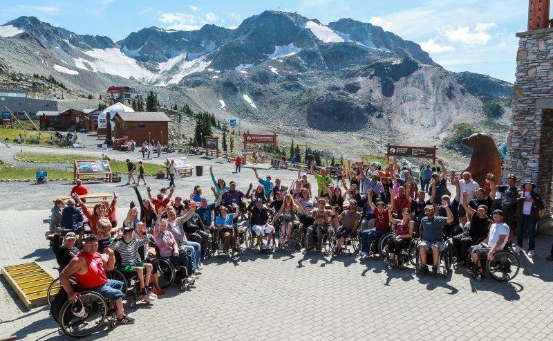 Spinal Cord Injury BC Group exploring the top of Whistler Mountain